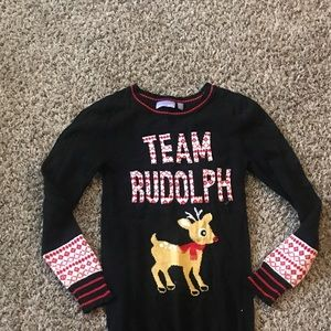 Girls Rudolph tunic sweater